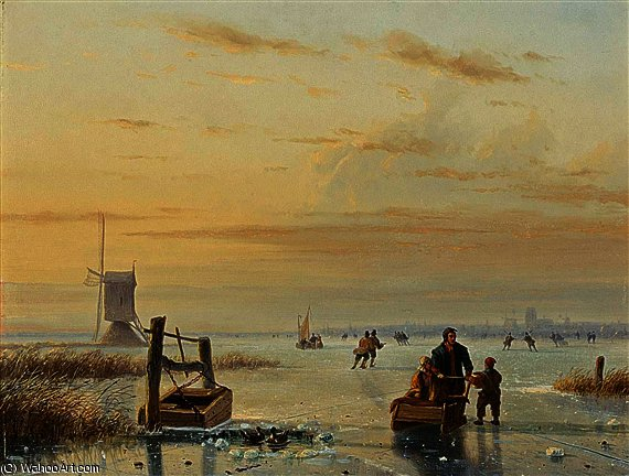 Skaters on a frozen waterway, windmills in the distance by Nicolaas Johannes Roosenboom (1805-1880, Netherlands)