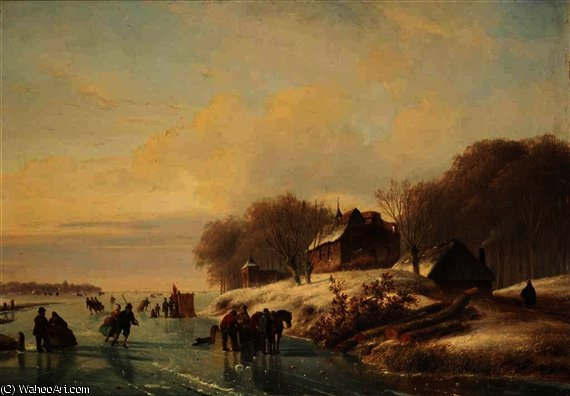 Skating in a winter landscape at dusk by Nicolaas Johannes Roosenboom (1805-1880, Netherlands)