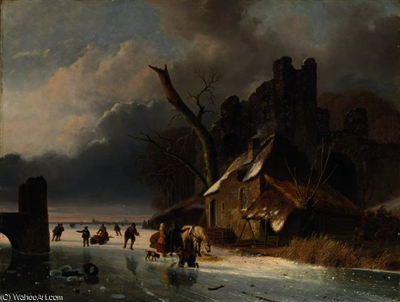 Townspeople on the ice by a ruin by Nicolaas Johannes Roosenboom (1805-1880, Netherlands)