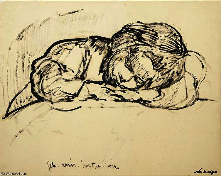 Sleeping child by Nikolai Aleksandrovich Tarkhov (1871-1930, Russia)