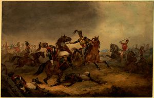 Orlando Norie - Heavy Cavalry at the Battle of Waterloo