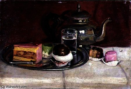 Still Life with Cakes and a Silver Teapot by Pericles Pantazis (1849-1884, Greece) | Painting Copy | WahooArt.com