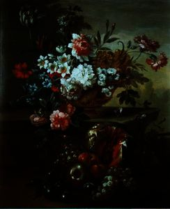 Pieter Casteels Iii - Still life of flowers in an urn with fruit