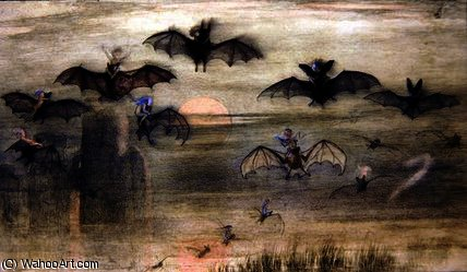 A flight by night of bats and elves by Richard Dickie Doyle (1824-1883, United Kingdom)