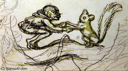 Goblin and Squirrel by Richard Dickie Doyle (1824-1883, United Kingdom) | Oil Painting | WahooArt.com