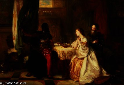 Order Paintings Reproductions | Othello Relating His Adventures to Desdemona by Robert Alexander Hillingford (1828-1904, United Kingdom) | WahooArt.com
