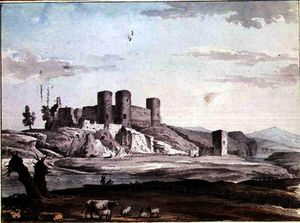 Samuel Hieronymous Grimm - Rhuddlan Castle from the Bridge