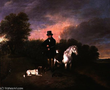 Sportsman with dogs and game by Samuel John Egbert Jones (1797-1861, United Kingdom)