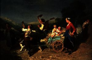 Theodore Gerard - Children with a dog cart