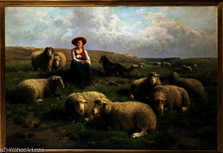 Shepherdess with Sheep in a Landscape by Theodore Gerard (1829-1895, Belgium) | Famous Paintings Reproductions | WahooArt.com
