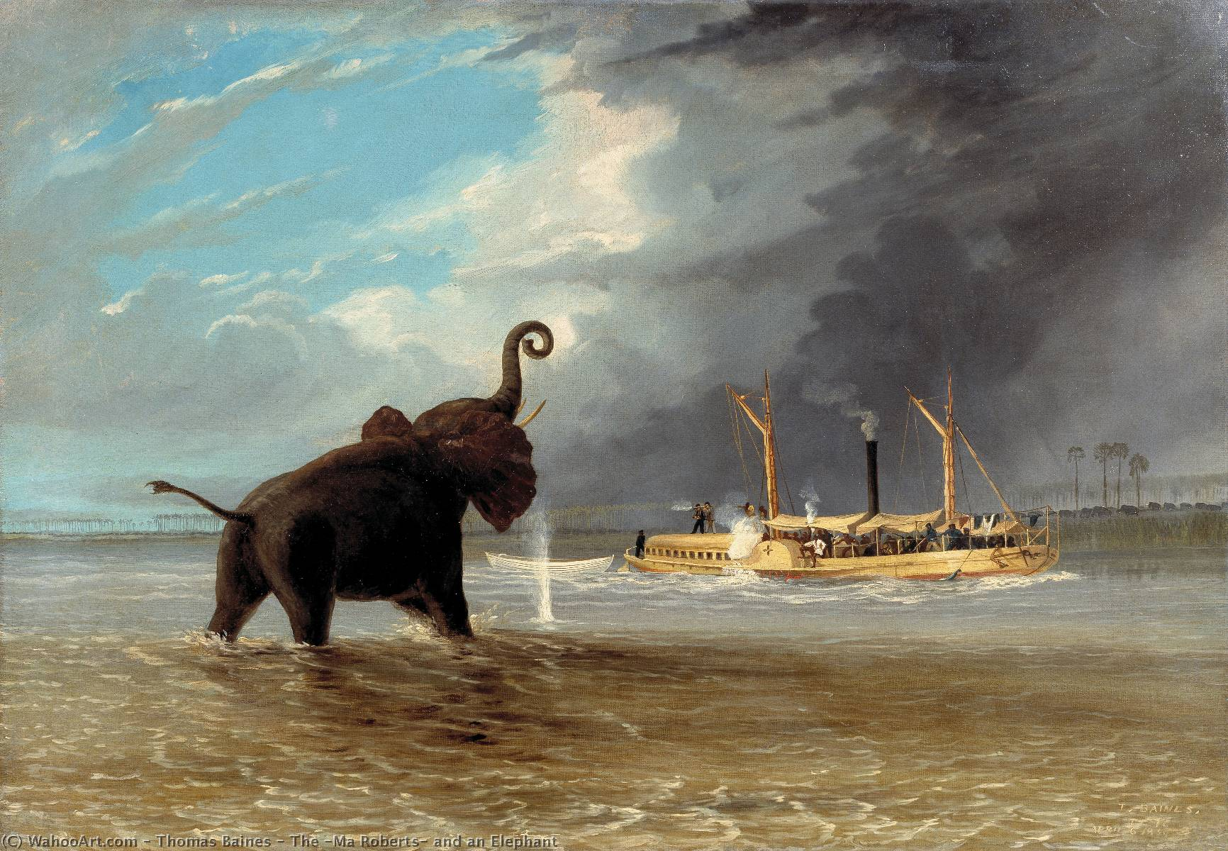 The Ma Roberts and Elephant in the Shallows Shire River Lower Zambezi by Thomas Baines (1820-1875, United Kingdom)