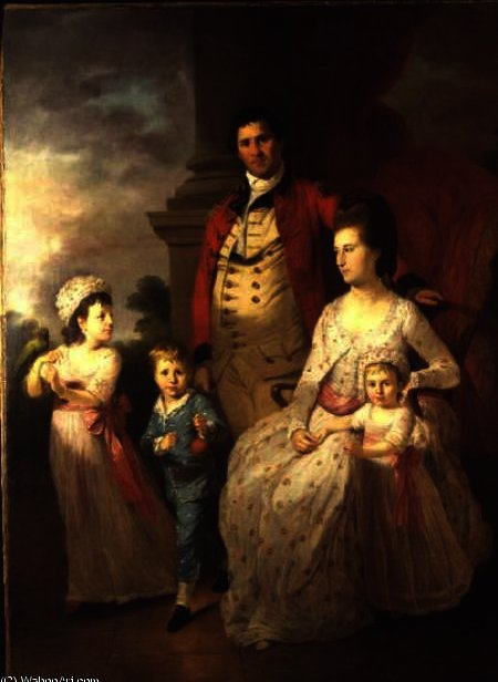 Group Portrait of Col. John Fortnom and his wife Jane, their son Thomas William, and their two daugh by Tilly Kettle (1735-1786, United Kingdom)