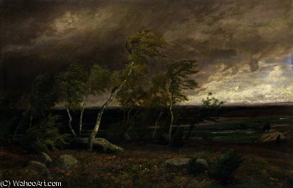 The Heath in a Storm by Valentin Ruths (1825-1905, Germany) | Oil Painting | WahooArt.com