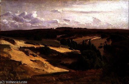 The heath near Bispingen by Valentin Ruths (1825-1905, Germany) | Famous Paintings Reproductions | WahooArt.com