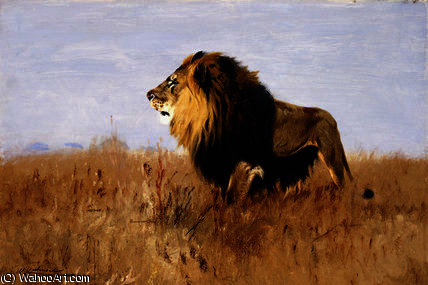 Lion Watching for Prey by Friedrich Wilhelm Kuhnert (1865-1926, Poland) | Famous Paintings Reproductions | WahooArt.com