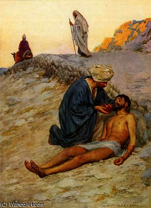The good samaritan by William Henry Margetson (1861-1940, United Kingdom) | Famous Paintings Reproductions | WahooArt.com