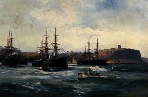 William Lionel Wyllie - The Channel Fleet off Scarborough
