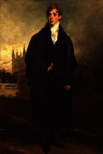William Owen - Portrait of Henry Townley standing in Academic dress, Merton College, Oxford possibly in