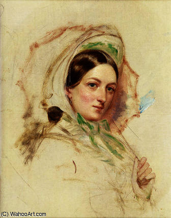 Study of Miss Mortimer holding a Parasol by William Powell Frith (1819-1909, United Kingdom)