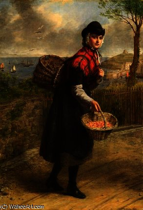 Tenby prawn seller by William Powell Frith (1819-1909, United Kingdom) | Paintings Reproductions William Powell Frith | WahooArt.com