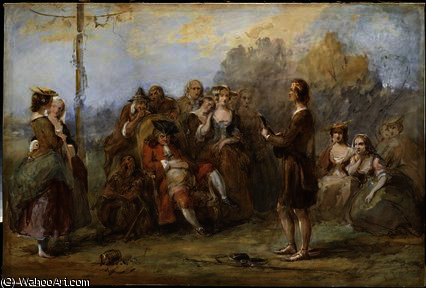 The minstrel, by William Powell Frith (1819-1909, United Kingdom) | Reproductions William Powell Frith | WahooArt.com