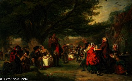 Village merrymaking by William Powell Frith (1819-1909, United Kingdom) | Museum Art Reproductions William Powell Frith | WahooArt.com