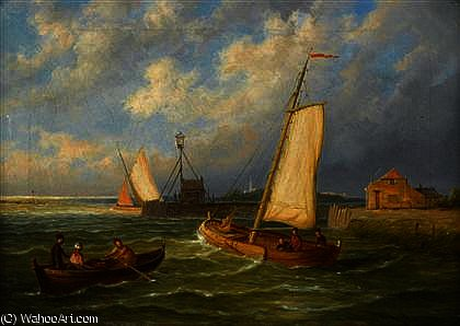 Order Art Reproductions | Sailing boats and a row boat off a harbor by William Raymond Dommersen (1859-1927, United Kingdom) | WahooArt.com
