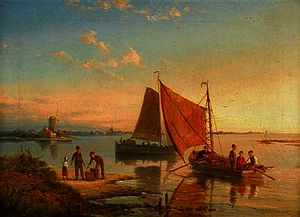 William Raymond Dommersen - Sailing boats and a row boat off a harbor_2