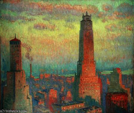 Ritz tower, new york city by William Samuel Horton (1865-1936, United States) | Painting Copy | WahooArt.com