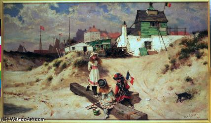 Beach scene in Ostend by William Stephen Coleman (1829-1904, United Kingdom) | Reproductions William Stephen Coleman | WahooArt.com