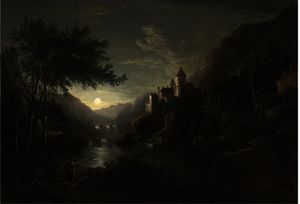 Abraham Pether - Figures beside a moonlit river with a castle on a hillside