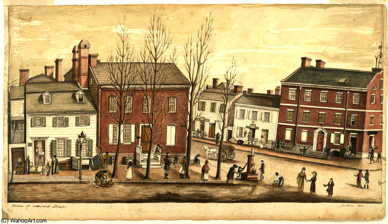 Corner of Greenwich Street by Anne Marguerite Hyde De Neuville (1771-1849, France) | Museum Quality Copies Anne Marguerite Hyde De Neuville | WahooArt.com