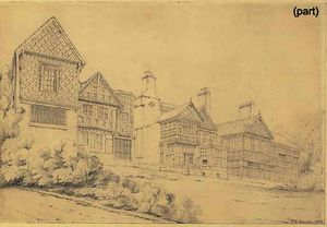 John Buckler - West and east views of bramhall hall, cheshire
