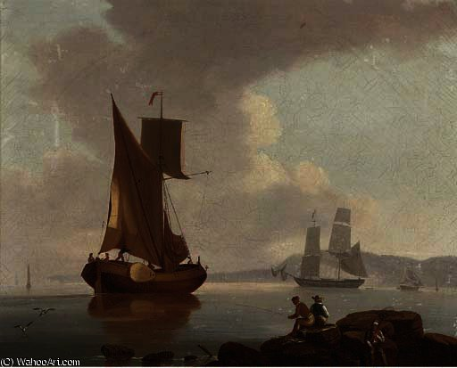A merchantman and a barge in a calm offshore, with fishermen on the rocks in the foreground by John Thomas Serres (1759-1825, United Kingdom)