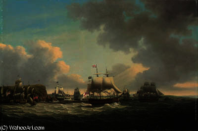 A squadron passing drake island, on its way to sea by John Thomas Serres (1759-1825, United Kingdom)