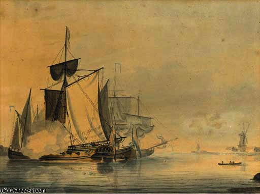 An admiralty yacht firing a salute to signal her departure by John Thomas Serres (1759-1825, United Kingdom)