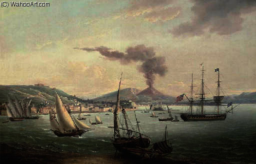 An english frigate amidst much activity in the bay of naples with vesuvius erupting beyond by John Thomas Serres (1759-1825, United Kingdom)