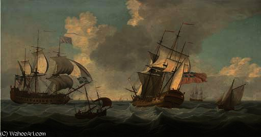 Men-o'war passing in the channel by John Thomas Serres (1759-1825, United Kingdom)