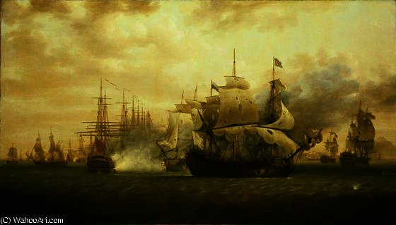 Hood`s anchored fleet repels De Grasse at the Battle of Frigate Bay off St Kitts by Nicholas Pocock (1740-1821, United Kingdom) | Oil Painting | WahooArt.com