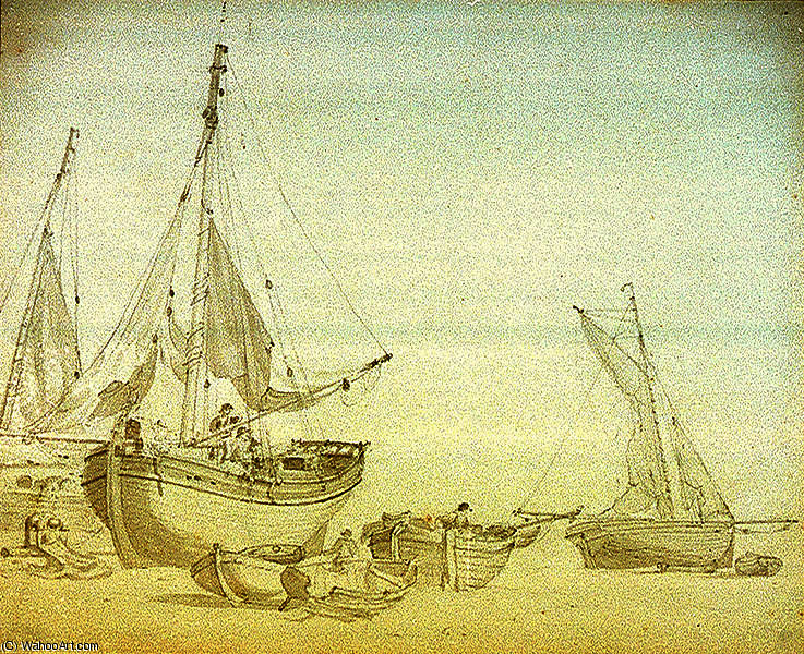 Men working on beached fishing vessels by Nicholas Pocock (1740-1821, United Kingdom)