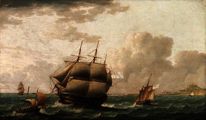Thomas Buttersworth - A british frigate and other shipping in choppy seas