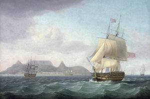 Thomas Whitcombe - View of Cape Town, Table Bay, Cape of Good Hope, with a seventy-four gun ship lying-to for convoy