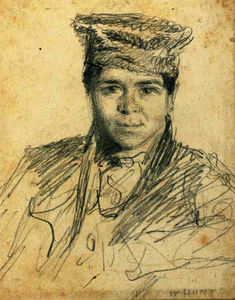 William Henry Hunt - Portrait of a boy, bust-length, wearing a hat