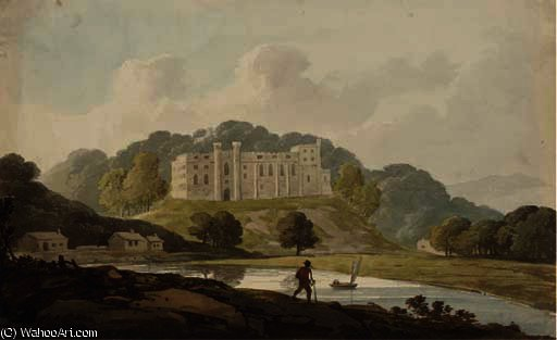 A landscape with castle by William Payne (1760-1830, United Kingdom)