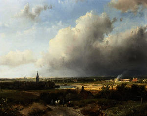 Andreas Schelfhout - A panoramic dutch river landscape