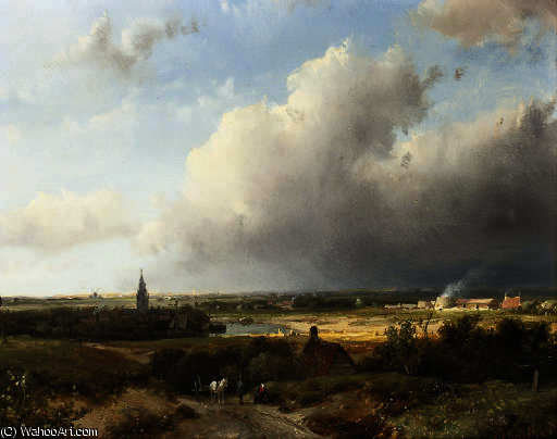 A panoramic dutch river landscape by Andreas Schelfhout (1787-1870, Netherlands)