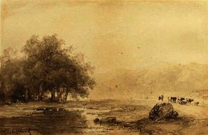 Andreas Schelfhout - A river landscape with cattle on a path