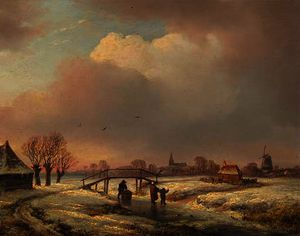 Andreas Schelfhout - A winter landscape with figures on a frozen waterway