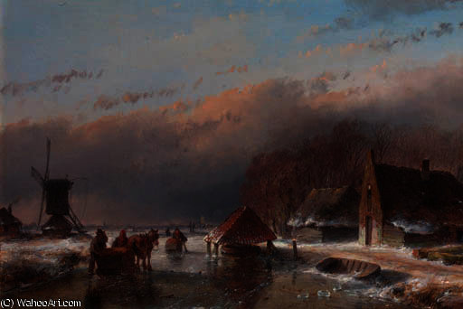 A winter landscape with skaters on a frozen waterway by a windmill by Andreas Schelfhout (1787-1870, Netherlands)