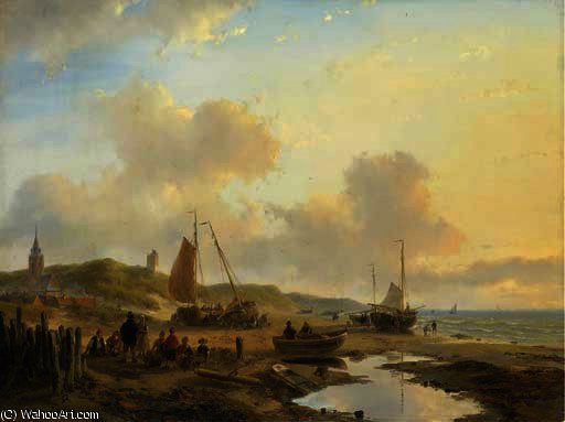 Activities on the beach of scheveningen by Andreas Schelfhout (1787-1870, Netherlands)